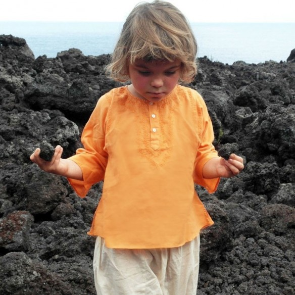 children cotton kaftan orange