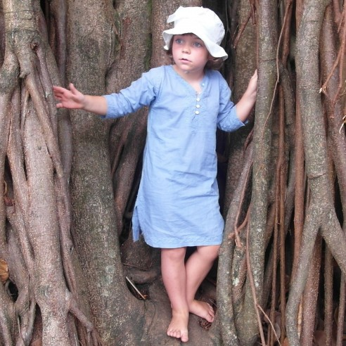 kids long kaftan indigo blue