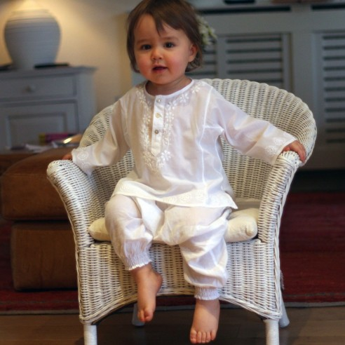 Baby flower embroidered kaftan white