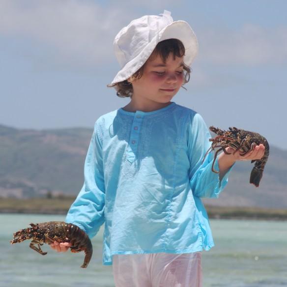 Kids Summer kaftan turquoise