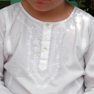 Tunique coton enfant blanc