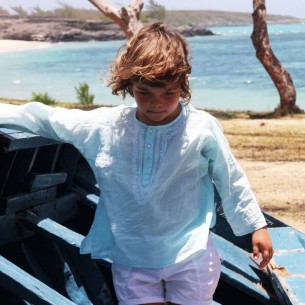 Kids Summer kaftan light turquoise