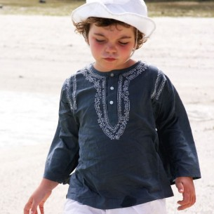 Kids Summer kaftan dark grey